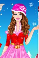 Playing Barbie Winter Princess Dress Up