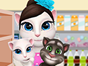 Talking Angela is taking her two babys with her for shopping.They must prepare for the easter family meal and she have to be ready.She will buy easter eggs,meat,bread,fruits and some toys for the little ones.Have fun shopping with Talking Angelas family.