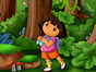 Dora and Boots are playing hide and see in the ...