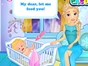 Frozen Elsa and Jack Frost have finally put their baby to bed. But looks like he needs to be fed again! Help Elsa to feed the baby, heal his stomach pain and change his diaper. The frozen family will be really gretaful to you!