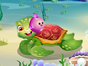 Little turtle was busy exploring underwater wor...